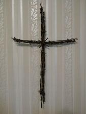"Rustic Barb Wire Cross, 20"" x 12"", Western Decor, Handmade, Nails"
