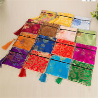 1PC Silk Jewelry Chinese Coin Tassel Zipper Pouch Bags Wedding Party Gift E Pz