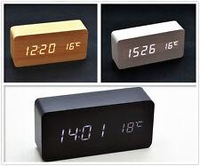 Wooden Digital LED Display Desk Table Clock Temperature Alarm Modern Home Decor