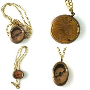 Necklace Compass Antique Finish Brass Nautical Pocket Compass Collectible Gift