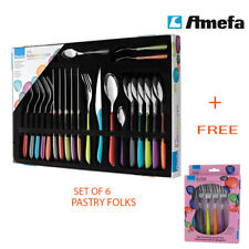 Amefa Eclat Cutlery Kaleidoscope Set with Free 6 Pastry Folks
