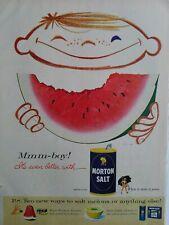 1956 Boy watermelon it's even better with Morton salt vintage ad
