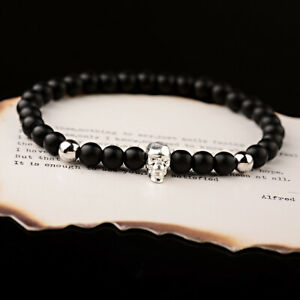 2Pcs/set Fashion Punk 6mm Onyx Matte Copper Beads Skull Men's Bracelets Jewelry