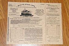"1 TITANIC TICKET White Star Line Ship Replica Passenger Boarding Pass 8.5"" x 11"""