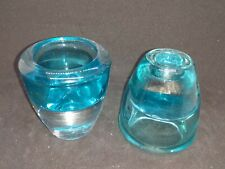 """Pair """"Luminessant"""" light blue glass votive/taper candle holders"""