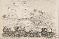 Jules PONCEAU 1881-1961 Dessin Fusain Paysage au clair de lune 1939