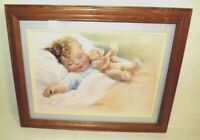 Vintage BESSIE PEASE GUTMANN Print Framed & Matted Picture Nursery Art Dreams