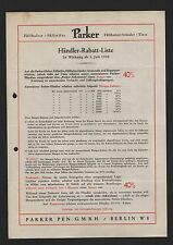 BERLIN, Brief 1930, Parker Füllhalter Füllstifte-Ständer Tinte