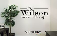 Personalised Family Name Wall Art Quote Kitchen Bedroom Lounge Est Sticker KIT2