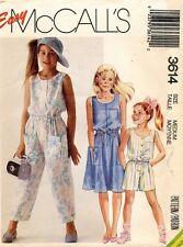 1980's VTG McCall's Girls' Dress,Jumpsuit and Romper Pattern 3614 Size M UNCUT