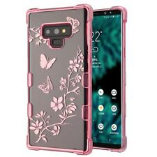 For Samsung Galaxy Note 9 - Rose Gold Butterfly Flowers Hard Clear Rubber Case