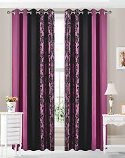 Eyelet Ring top Curtains Damask 3 Tone fully lined Purple