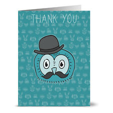 24 Thank You Note Cards - Cool Owl Thank You - Gray Envs