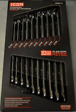 ICON WRDBM-10 Metric Double Box End Ratcheting Wrench 10PC Set NEW
