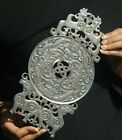 Old natural hetian jade hand-carved statue of dragon and sheep Plate Bi 11inch