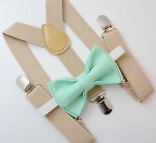 Kids Boys Mens Baby Tan Khaki Suspenders & MINT Green Bow Tie Infant - ADULT SET