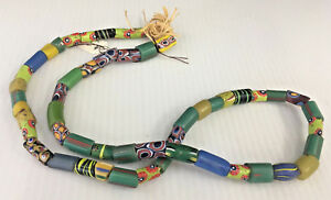 "Antique African Italian Trade Bead Necklace #3 52 Beads 24"" Millefiori Blue Grn"