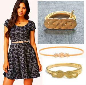Womens Ladies Fashion Gold Flower Bow Metal Elastic Thin Skinny Waist Band Belt