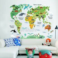 Animal World Map Wall Sticker Poster Removable Decal Kid Nursery Baby Room Decor