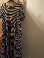 Black and white/grey stripes.(No pocket) Unicorn.Lularoe Carly Dress Medium NWT