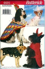 Butterick 4601 DOG Costumes Clown Wizard Devil Princess sewing pattern UNCUT NEW
