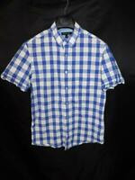 Banana Republic M Purple Blue White Plaid Shirt Short Sleeve Cotton Mens Summer