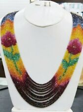 "Ebay Flower Designer 11 Strand 100% Natural Sapphire Multi Gemstone Necklace 20"""