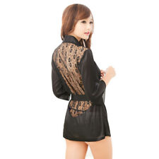 Sexy Hollow Flower Lace Back w/G-string T-back Black Lingerie Night Sleepwear