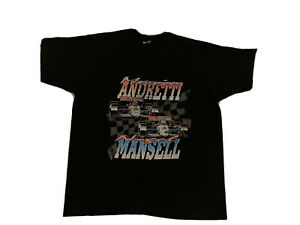 VTG 90s Speedgear Mario Andretti NASCAR Graphic t-Shirt mansell nigel racing CL