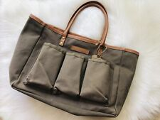 Canvas Garden Tote Target Green Faux Leather Pockets Craft Bag Smith Hawken