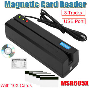 MSR605X Magnetic Strip Credit Card Reader LED Indicator Magstripe Writer 3Tracks