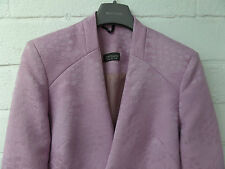 Womens Ladies New Pink Floral Embossed Cropped Fitted Blazer/Jacket (10-18)