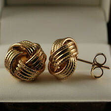 Elegant 18K 18ct Yellow Gold Filled Knot Twist Round Stud Earrings - New -345