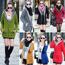 Women Thicken Fleece Fur Lining Trench Coat Jacket Ladies Hooded Outwear Fashion