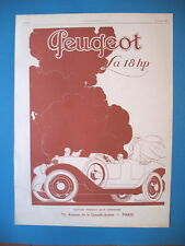 PUBLICITE DE PRESSE PEUGEOT 18 HP AUTOMOBILE ILLUSTRATION  RENé VINCENT AD 1924