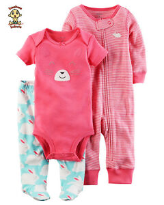 Carter's 3 pc Set w/ Bodysuit, Jumpsuit and Footed Pants, 3 months