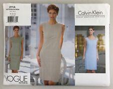 Vtg 90s Vogue 2114 Calvin Klein Designer Mock Wrap Dress Pattern Sz 8-10-12 Rare