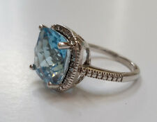 Victoria Townsend Blue Topaz & Rose Cut Diamond 925 Sterling Silver Ring -Size 7