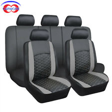 Car Seat Covers Full Set 9 PCS | Leather Gray with Black | Odorless Add Comfort