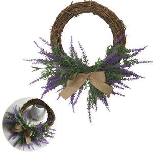 Lavender Wreath Front Door Flowers Garland Wall Hanging Wedding Home Decoration