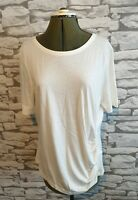 L K Bennett White Top t shirt tee Size M 12 uk TJ LIBBY ruched side