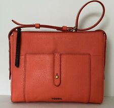 New Fossil Jenna Top Zip Crossbody handbag Like Style Leather Lava color