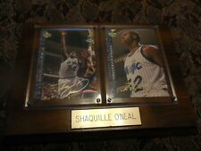 Shaquille O'neal Two Upper Deck Signed Cards Mounted in Wooden plaque
