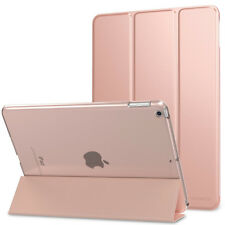 "Rose Gold New iPad 9.7"" 2017 5th Generation Leather Case Clear Back Cover"