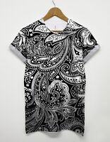 Paisley All Over T Shirt Printed Pattern Monochrome Retro Indie Tee Top Summer