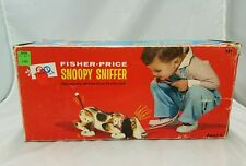 1960's Vintage Fisher Price Snoopy Sniffer Walking Dog Wood Pull Toy w/ Box #181