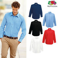Fruit of the Loom Men's Poplin Long Sleeve Shirt Formal Smart Workwear S-3XL