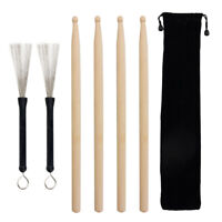 Drum Sticks 2 Pairs Wood Drumsticks and 1 Pair Retractable Drum Wire Brushes