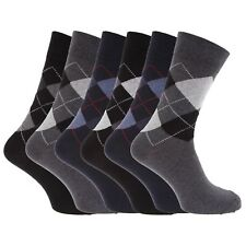 Mens Socks Patterned Cotton Blend Argyle Design Office Casual Socks (Pack Of 6)