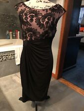 Connected Apparel Black Sleeveless Stretch Dress With Lace Overlay Size 10